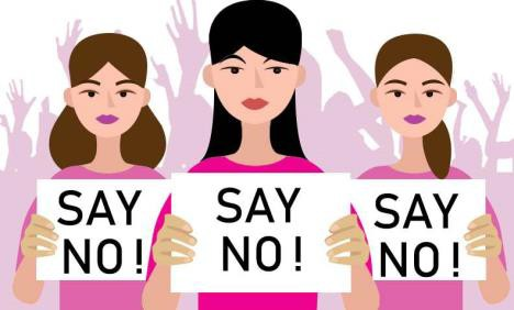 Illustration of three women holding Say No! signs